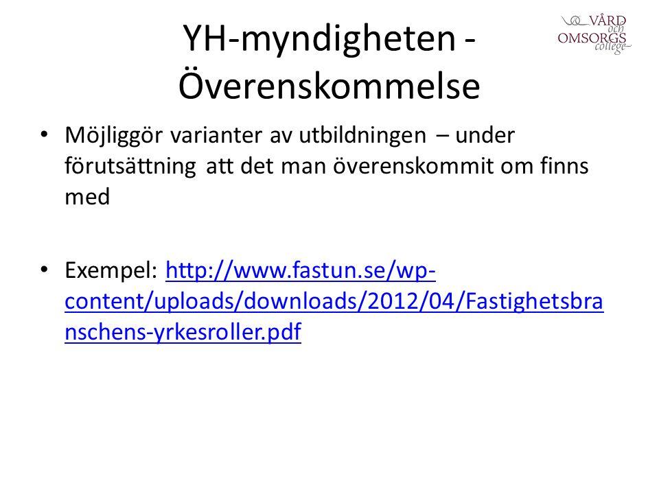 YH-myndigheten - Överenskommelse Möjliggör varianter av utbildningen – under förutsättning att det man överenskommit om finns med Exempel: http://www.fastun.se/wp- content/uploads/downloads/2012/04/Fastighetsbra nschens-yrkesroller.pdfhttp://www.fastun.se/wp- content/uploads/downloads/2012/04/Fastighetsbra nschens-yrkesroller.pdf