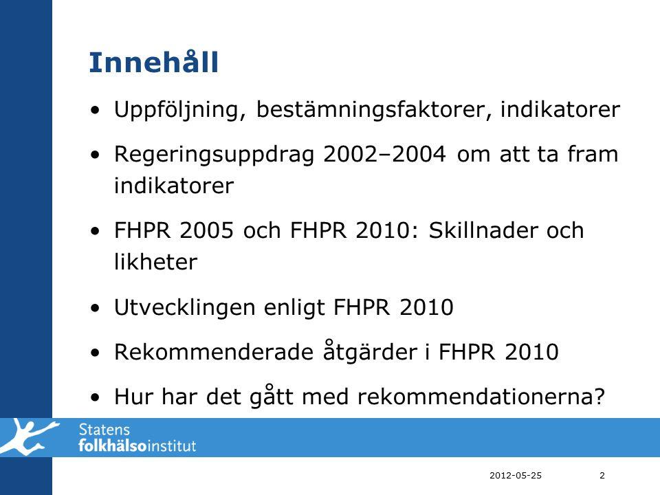 Övergripande mål för folkhälsan Att skapa samhälleliga förutsättningar för en god hälsa på lika villkor för hela befolkningen 2012-05-253