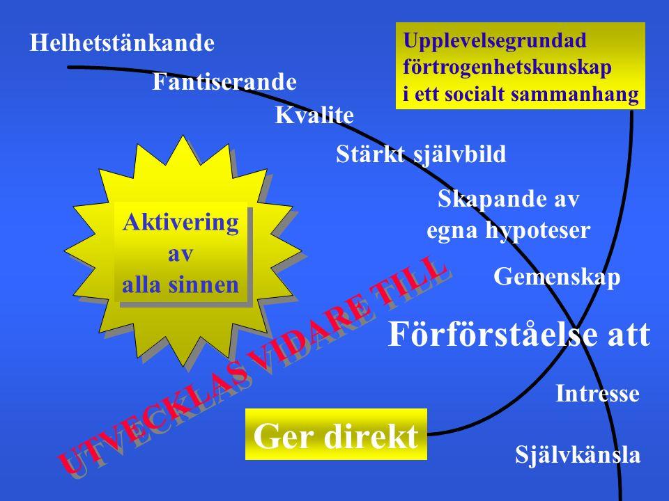Upplevelsegrundad förtrogenhetskunskap i ett socialt sammanhang Ger direkt Aktivering av alla sinnen Aktivering av alla sinnen Helhetstänkande Fantise