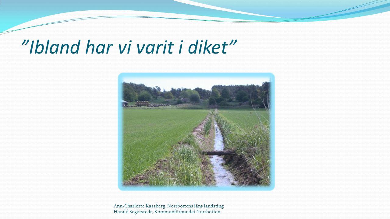 Ibland har vi varit i diket Ann-Charlotte Kassberg, Norrbottens läns landsting Harald Segerstedt, Kommunförbundet Norrbotten
