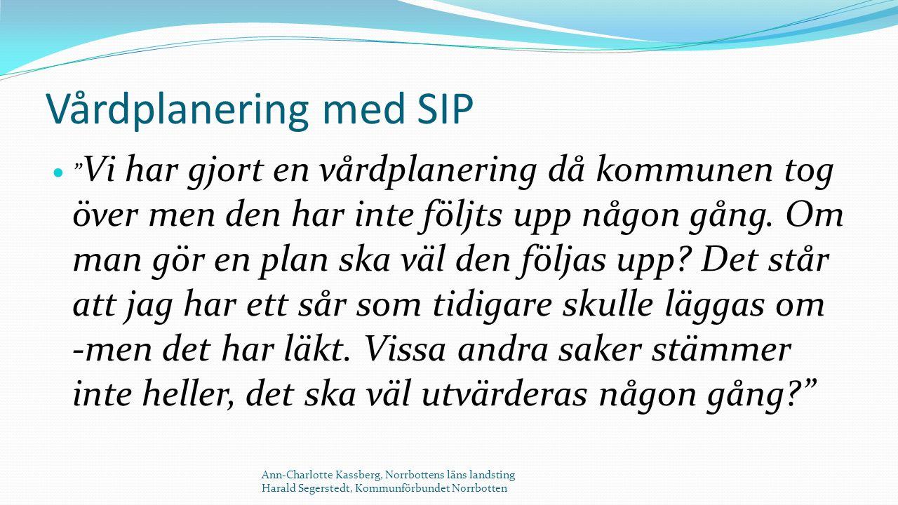 Vårdplanering med SIP Vi har gjort en vårdplanering då kommunen tog över men den har inte följts upp någon gång.