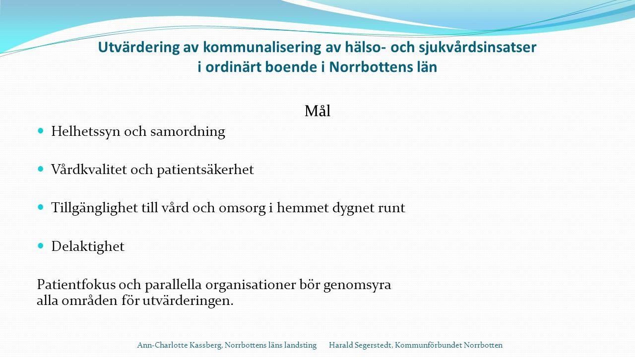 Utvärdering av kommunalisering av hälso- och sjukvårdsinsatser i ordinärt boende i Norrbottens län Mål Helhetssyn och samordning Vårdkvalitet och patientsäkerhet Tillgänglighet till vård och omsorg i hemmet dygnet runt Delaktighet Patientfokus och parallella organisationer bör genomsyra alla områden för utvärderingen.
