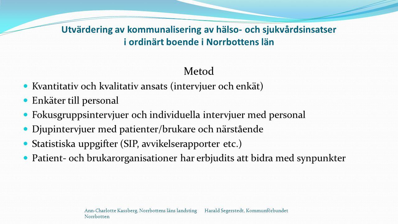 Utvärdering av kommunalisering av hälso- och sjukvårdsinsatser i ordinärt boende i Norrbottens län Metod Kvantitativ och kvalitativ ansats (intervjuer och enkät) Enkäter till personal Fokusgruppsintervjuer och individuella intervjuer med personal Djupintervjuer med patienter/brukare och närstående Statistiska uppgifter (SIP, avvikelserapporter etc.) Patient- och brukarorganisationer har erbjudits att bidra med synpunkter Ann-Charlotte Kassberg, Norrbottens läns landsting Harald Segerstedt, Kommunförbundet Norrbotten