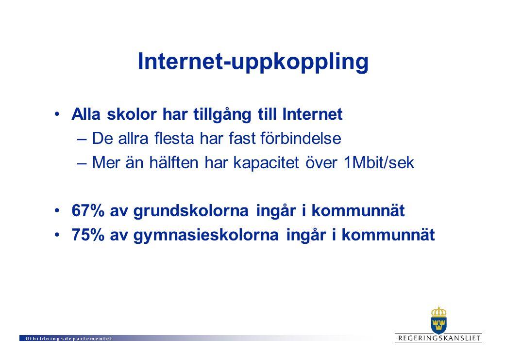 U t b i l d n i n g s d e p a r t e m e n t e t Internet-uppkoppling Alla skolor har tillgång till Internet –De allra flesta har fast förbindelse –Mer