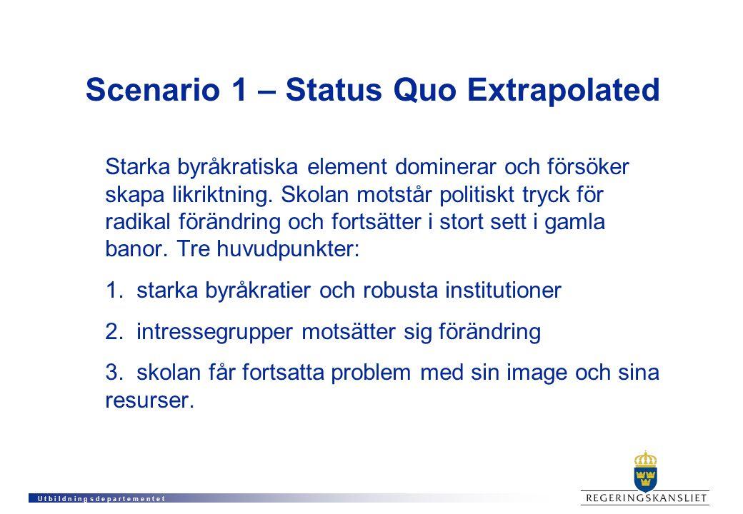 U t b i l d n i n g s d e p a r t e m e n t e t Scenario 1 – Status Quo Extrapolated Starka byråkratiska element dominerar och försöker skapa likriktning.