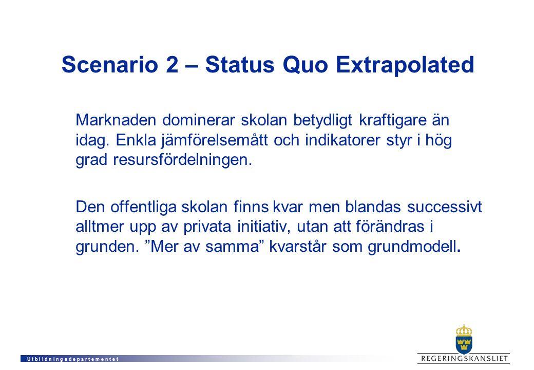 U t b i l d n i n g s d e p a r t e m e n t e t Scenario 2 – Status Quo Extrapolated Marknaden dominerar skolan betydligt kraftigare än idag. Enkla jä