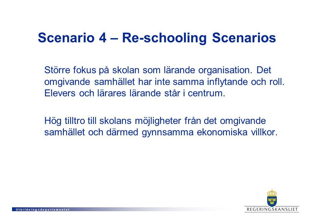 U t b i l d n i n g s d e p a r t e m e n t e t Scenario 4 – Re-schooling Scenarios Större fokus på skolan som lärande organisation. Det omgivande sam
