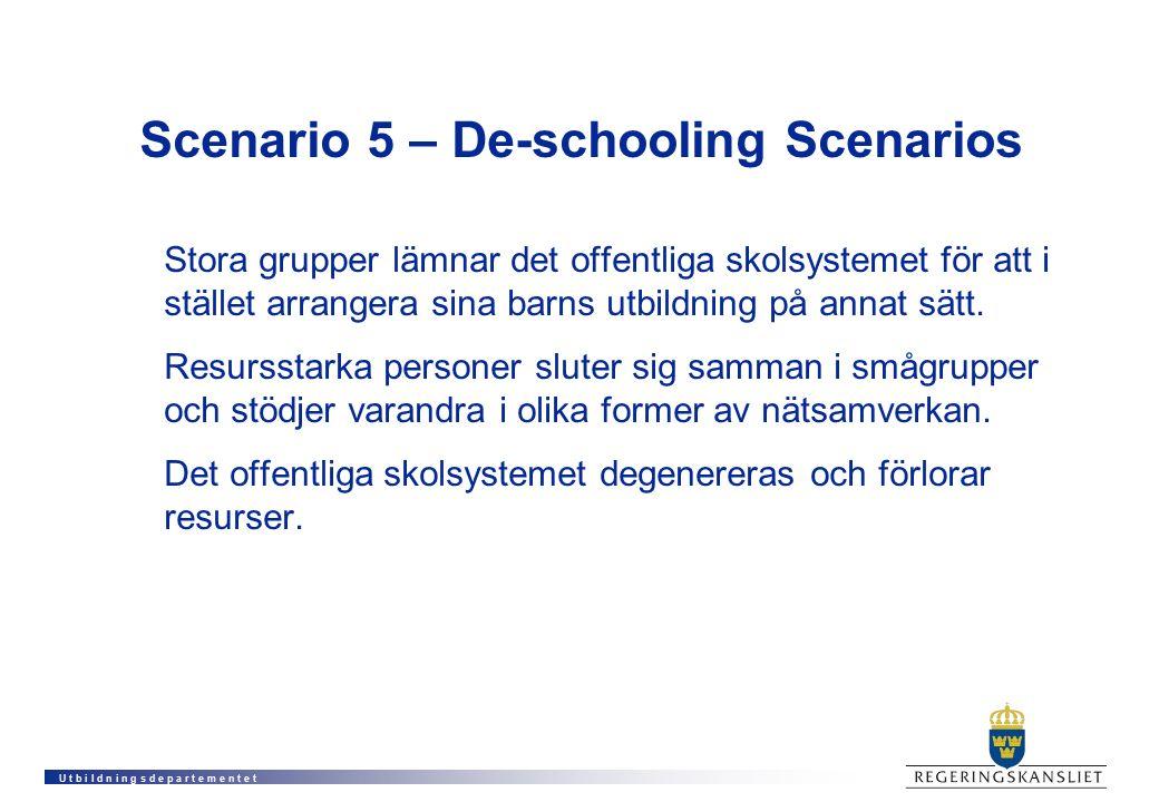 U t b i l d n i n g s d e p a r t e m e n t e t Scenario 5 – De-schooling Scenarios Stora grupper lämnar det offentliga skolsystemet för att i stället arrangera sina barns utbildning på annat sätt.