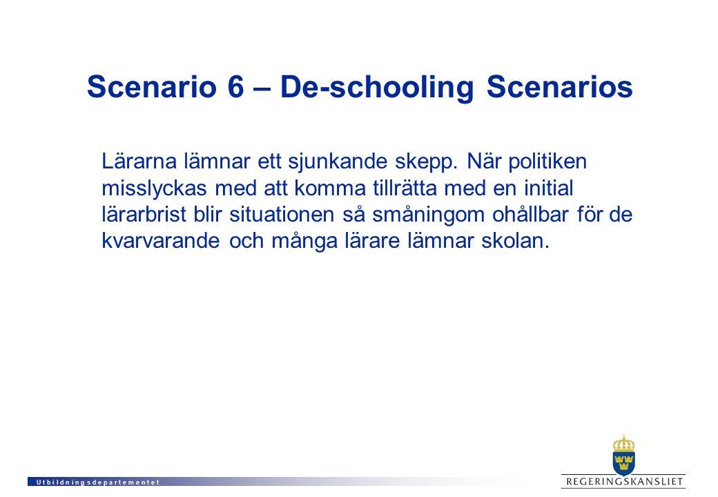 U t b i l d n i n g s d e p a r t e m e n t e t Scenario 6 – De-schooling Scenarios Lärarna lämnar ett sjunkande skepp. När politiken misslyckas med a
