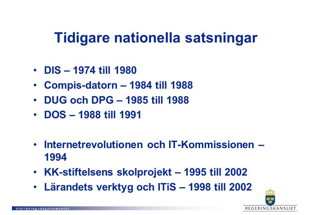 U t b i l d n i n g s d e p a r t e m e n t e t Tidigare nationella satsningar DIS – 1974 till 1980 Compis-datorn – 1984 till 1988 DUG och DPG – 1985