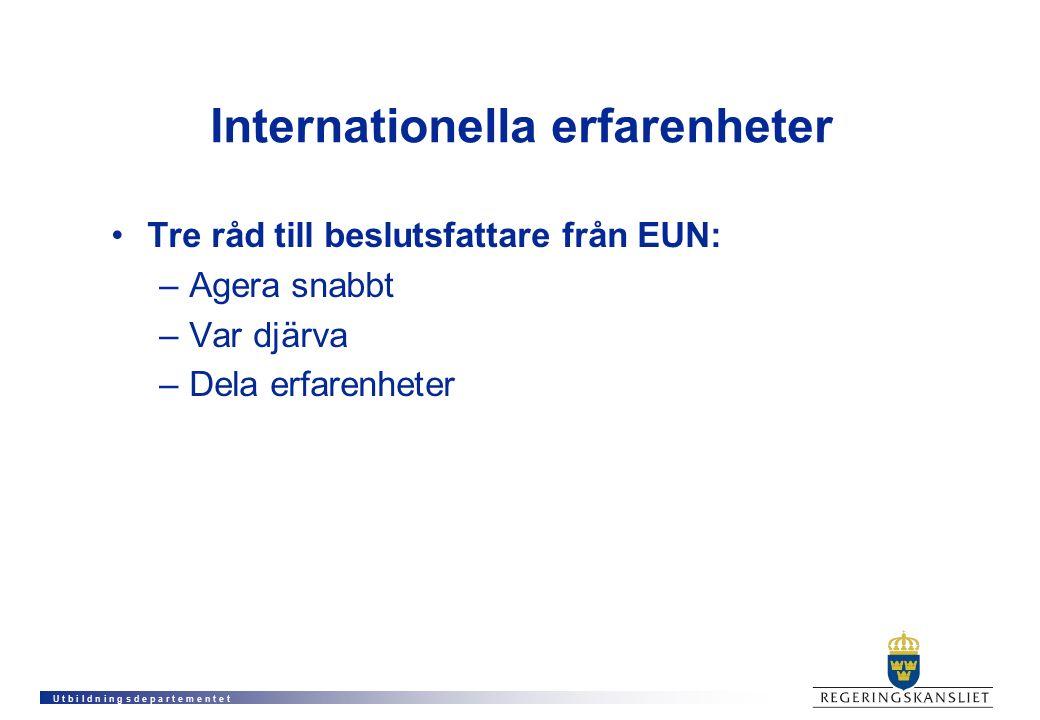 U t b i l d n i n g s d e p a r t e m e n t e t Internationella erfarenheter Tre råd till beslutsfattare från EUN: –Agera snabbt –Var djärva –Dela erf
