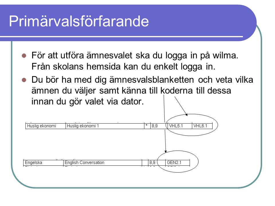 Primärvalsförfarande För att utföra ämnesvalet ska du logga in på wilma.
