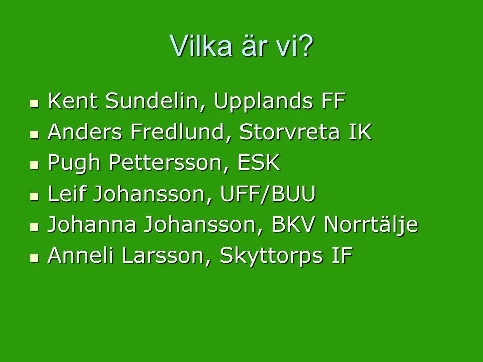 Vilka är vi? Kent Sundelin, Upplands FF Kent Sundelin, Upplands FF Anders Fredlund, Storvreta IK Anders Fredlund, Storvreta IK Pugh Pettersson, ESK Pu