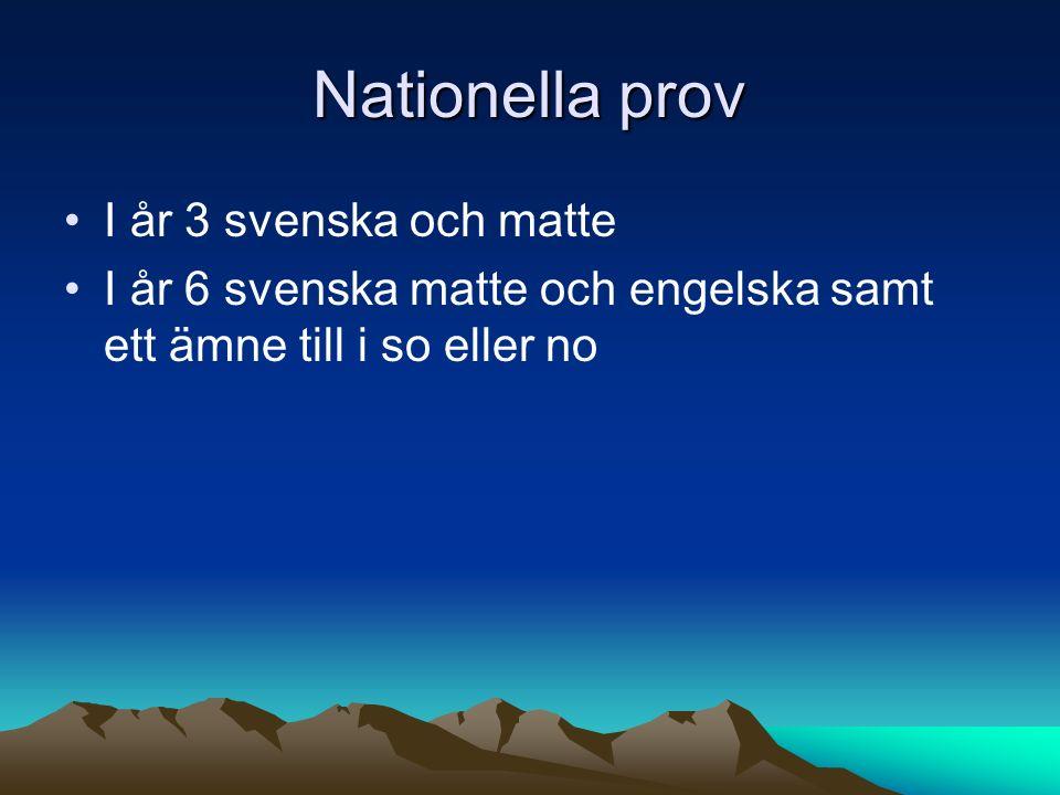 Nationella prov I år 3 svenska och matte I år 6 svenska matte och engelska samt ett ämne till i so eller no