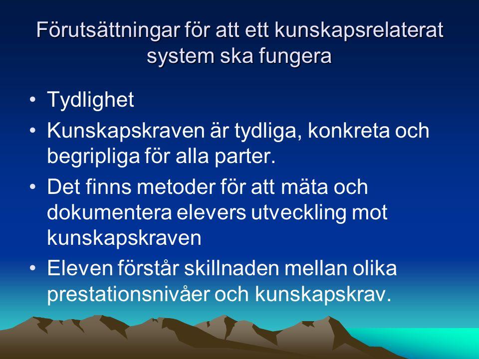 Förutsättningar för att ett kunskapsrelaterat system ska fungera Tydlighet Kunskapskraven är tydliga, konkreta och begripliga för alla parter. Det fin