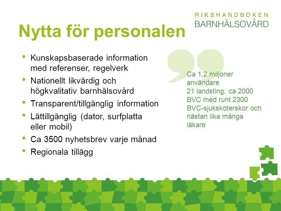 Kunskapsbaserade information med referenser, regelverk Nationellt likvärdig och högkvalitativ barnhälsovård Transparent/tillgänglig information Lättillgänglig (dator, surfplatta eller mobil) Ca 3500 nyhetsbrev varje månad Regionala tillägg Nytta för personalen Ca 1,2 miljoner användare 21 landsting, ca 2000 BVC med runt 2300 BVC-sjuksköterskor och nästan lika många läkare