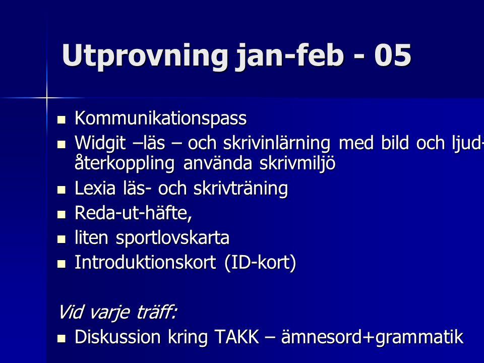 Utprovning jan-feb - 05 Kommunikationspass Kommunikationspass Widgit –läs – och skrivinlärning med bild och ljud- återkoppling använda skrivmiljö Widg