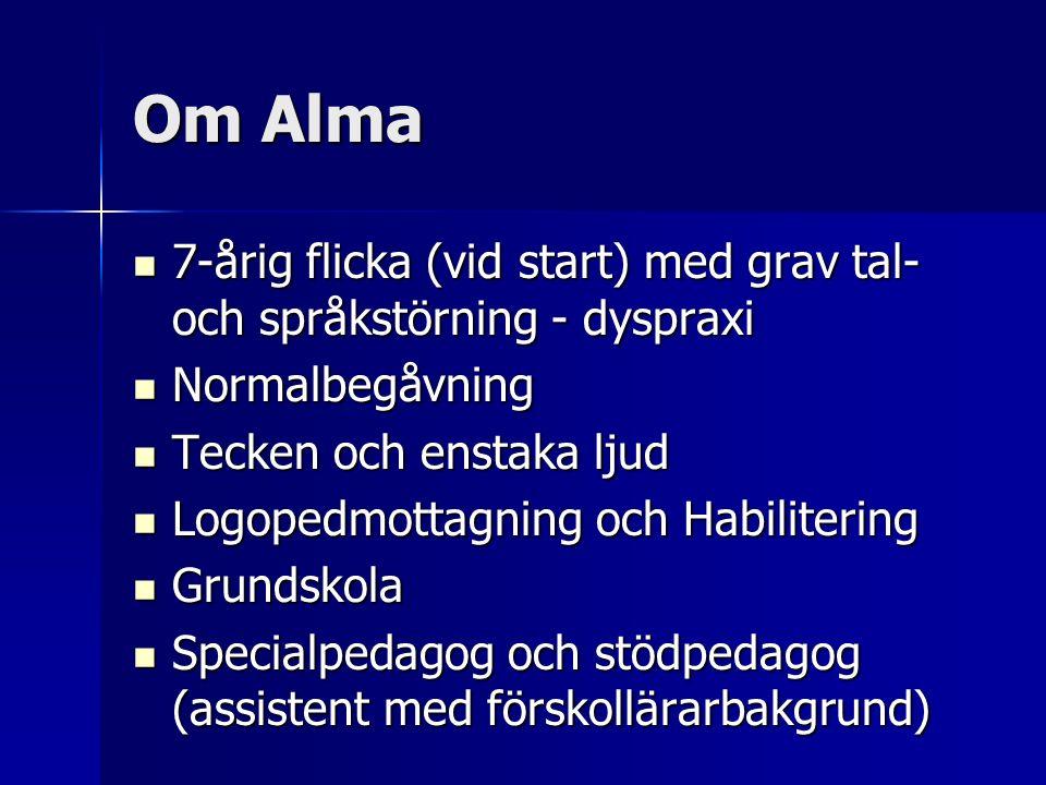 Om Alma 7-årig flicka (vid start) med grav tal- och språkstörning - dyspraxi 7-årig flicka (vid start) med grav tal- och språkstörning - dyspraxi Norm