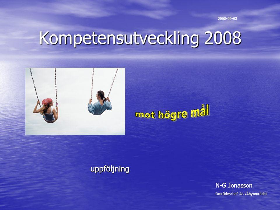 Kompetensutveckling 2008 uppföljning 2008-09-03 N-G Jonasson Områdeschef As-/Åbyområdet