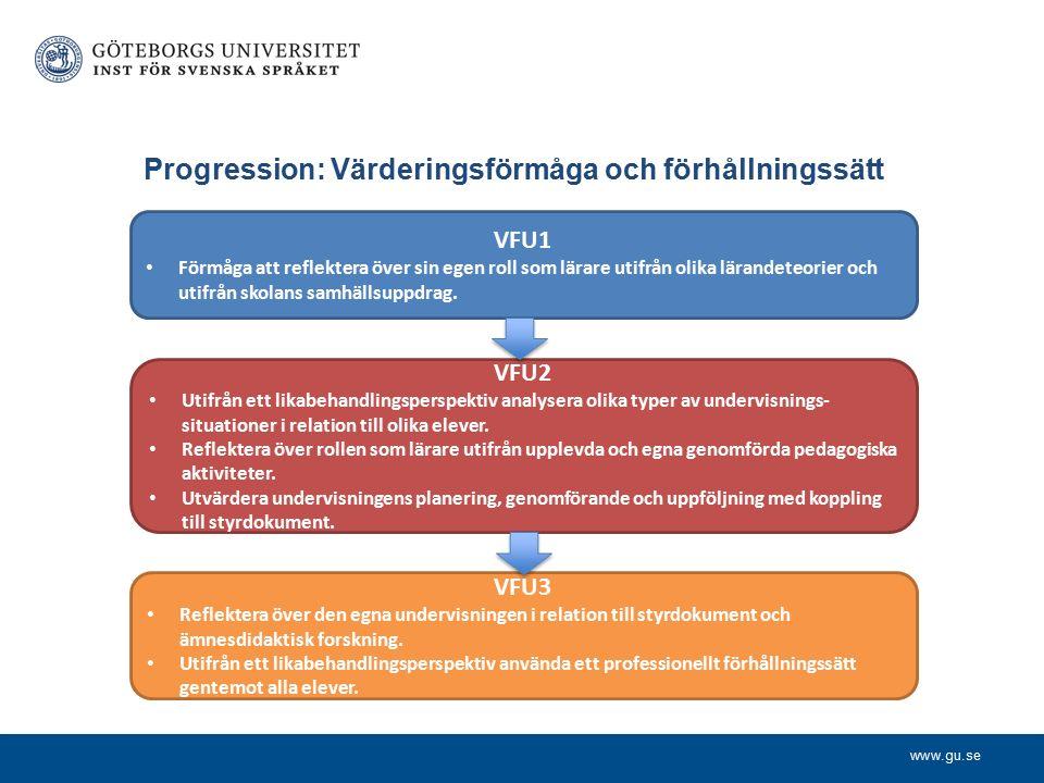www.gu.se Progression: Värderingsförmåga och förhållningssätt VFU1 Förmåga att reflektera över sin egen roll som lärare utifrån olika lärandeteorier och utifrån skolans samhällsuppdrag.