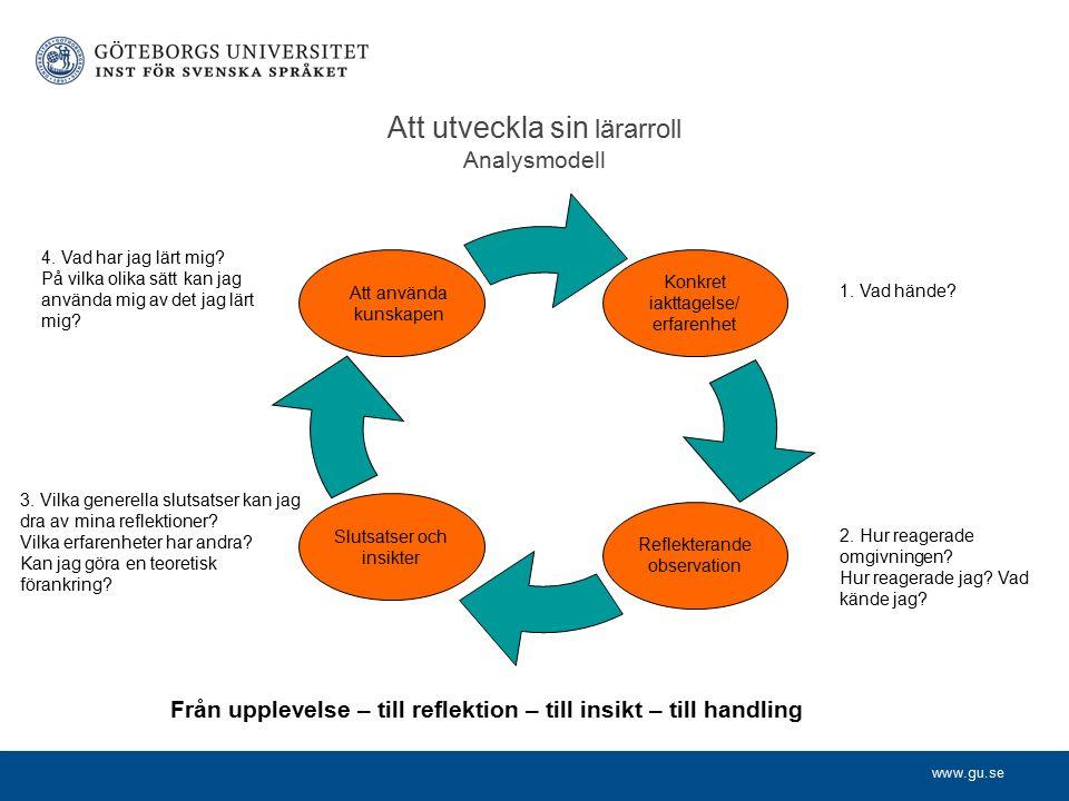 www.gu.se Att utveckla sin lärarroll Analysmodell Att använda kunskapen Slutsatser och insikter Reflekterande observation Konkret iakttagelse/ erfarenhet 1.