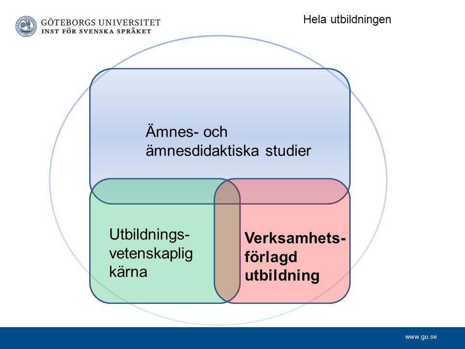 www.gu.se Ämnes- och ämnesdidaktiska studier Utbildnings- vetenskaplig kärna Verksamhets- förlagd utbildning Hela utbildningen