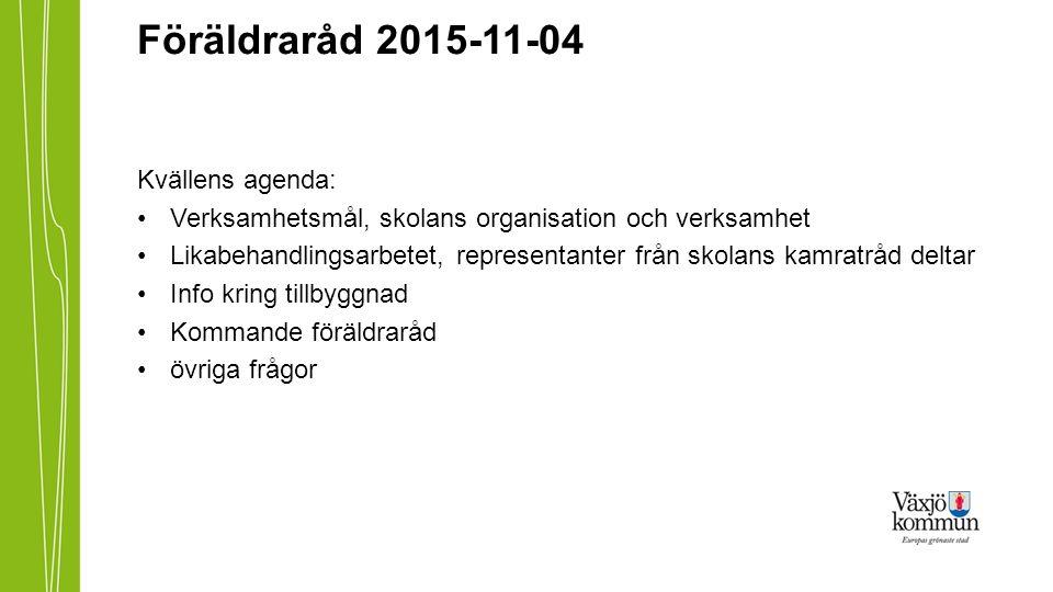 Föräldraråd 2015-11-04 Kvällens agenda: Verksamhetsmål, skolans organisation och verksamhet Likabehandlingsarbetet, representanter från skolans kamrat