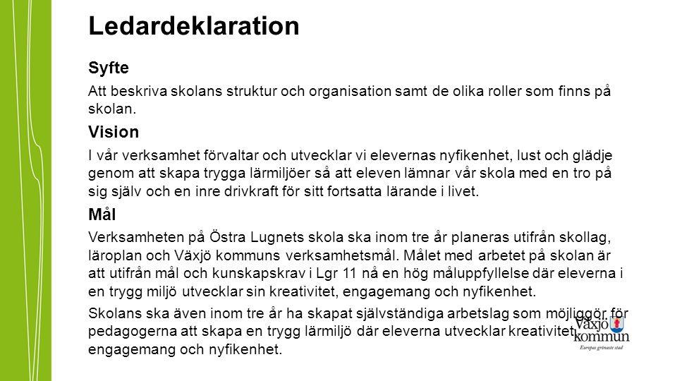 Ledardeklaration Syfte Att beskriva skolans struktur och organisation samt de olika roller som finns på skolan. Vision I vår verksamhet förvaltar och