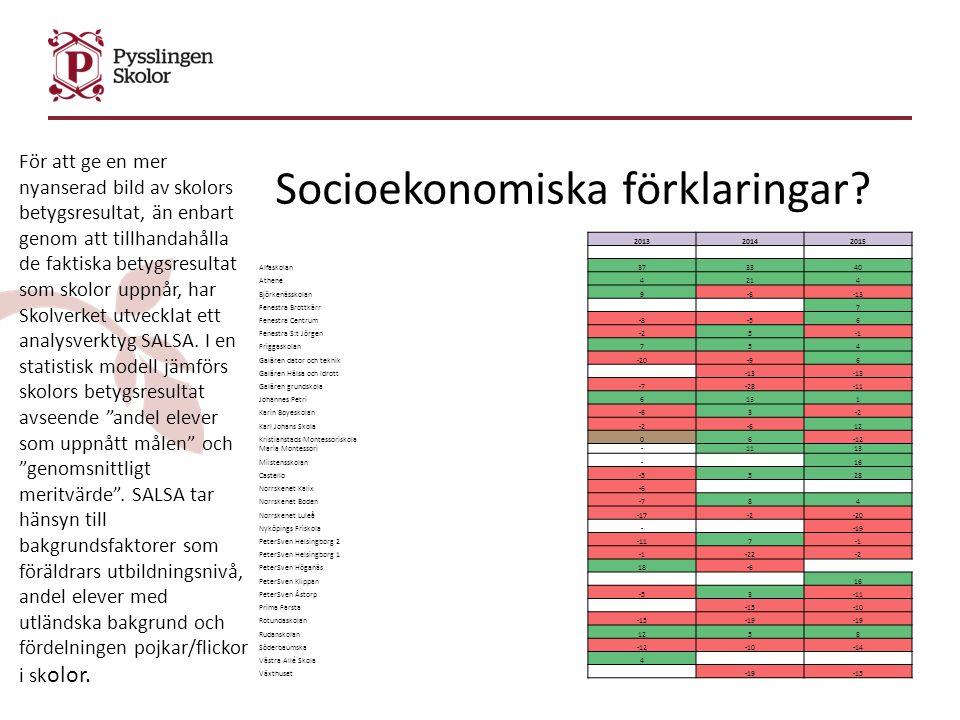 Socioekonomiska förklaringar.
