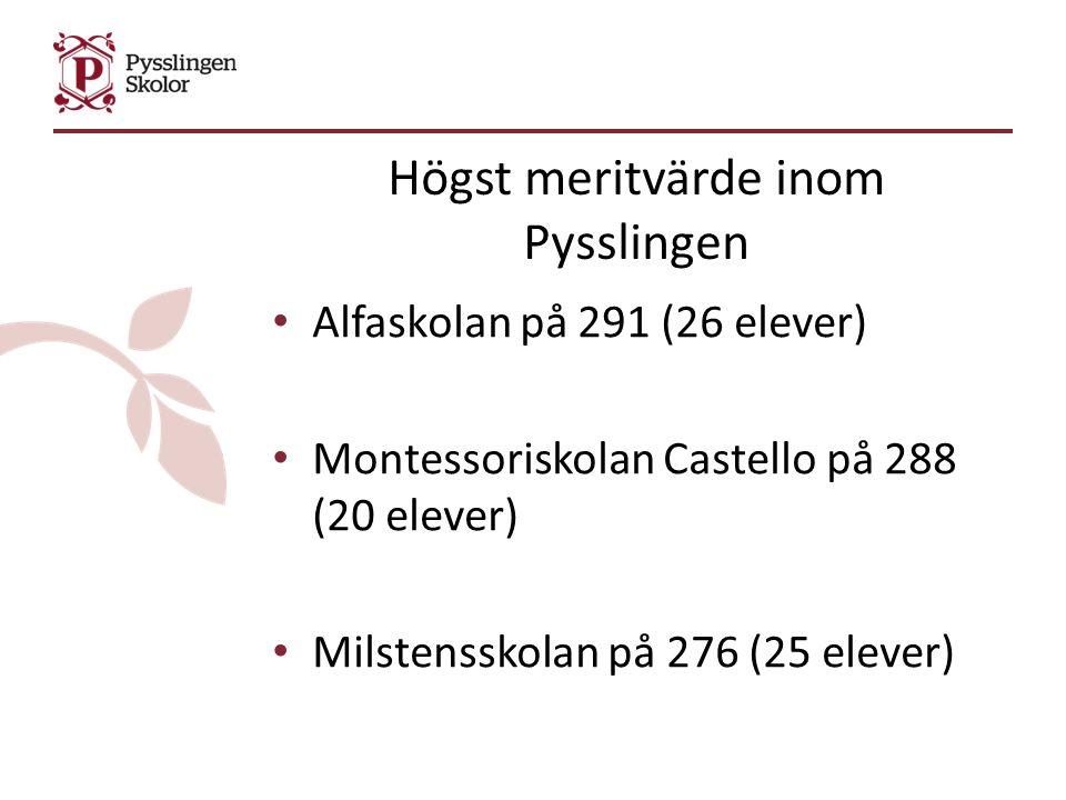 Högst meritvärde inom Pysslingen Alfaskolan på 291 (26 elever) Montessoriskolan Castello på 288 (20 elever) Milstensskolan på 276 (25 elever)