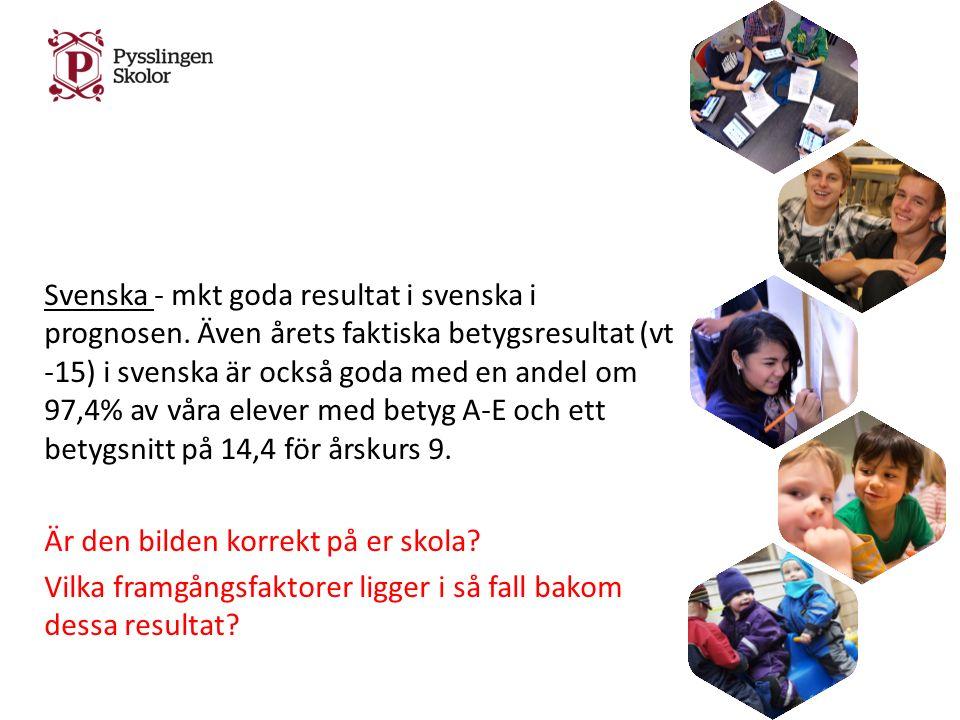 Svenska - mkt goda resultat i svenska i prognosen.