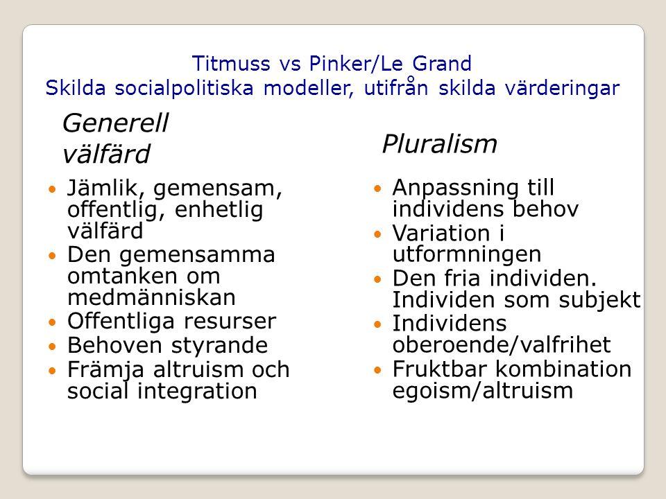 Titmuss vs Pinker/Le Grand Skilda socialpolitiska modeller, utifrån skilda värderingar Jämlik, gemensam, offentlig, enhetlig välfärd Den gemensamma omtanken om medmänniskan Offentliga resurser Behoven styrande Främja altruism och social integration Anpassning till individens behov Variation i utformningen Den fria individen.