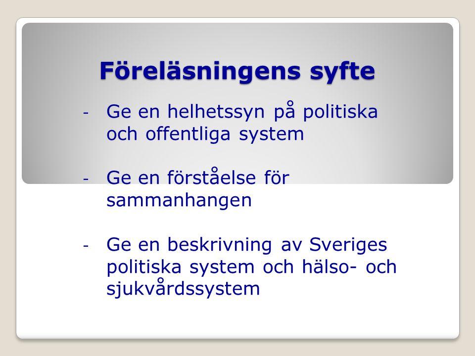 Disposition - Politikens bakgrund, centrala begrepp och modeller - Några relevanta samhällsvetenskapliga begrepp och teorier - Sveriges politiska och offentliga system - Sveriges hälso- och sjukvårdssystem - Institutionell förändring av hälso- och sjukvårdssystemet