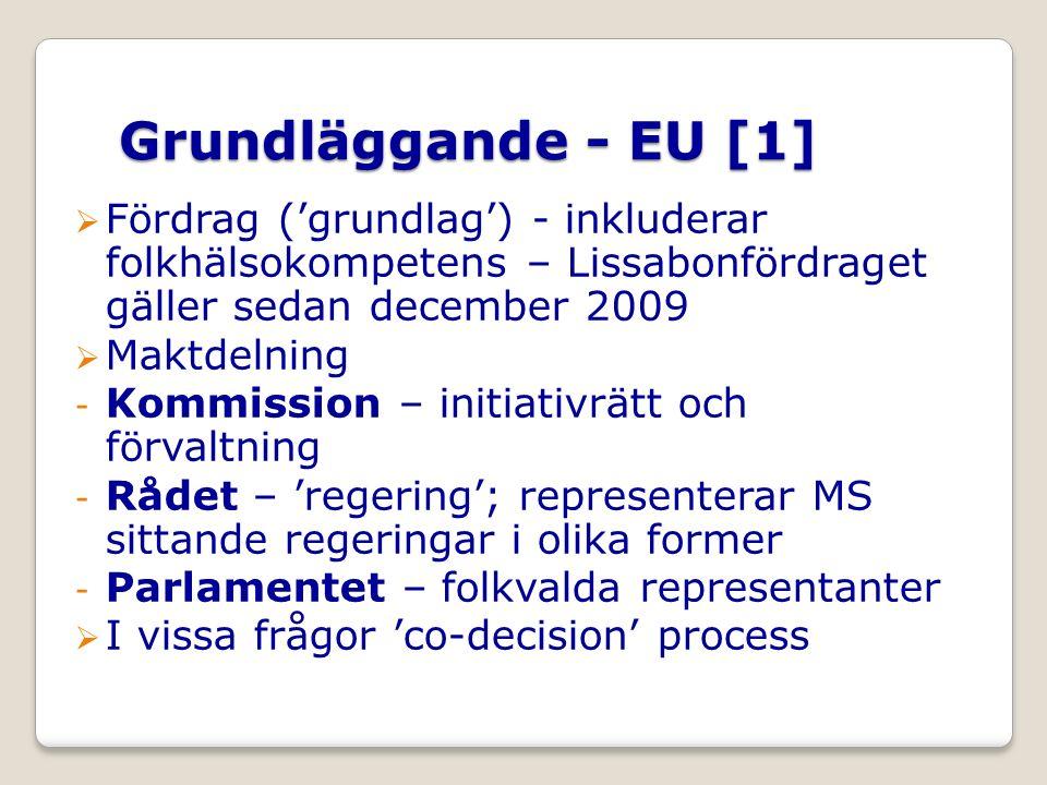 Grundläggande - EU [1]  Fördrag ('grundlag') - inkluderar folkhälsokompetens – Lissabonfördraget gäller sedan december 2009  Maktdelning - Kommission – initiativrätt och förvaltning - Rådet – 'regering'; representerar MS sittande regeringar i olika former - Parlamentet – folkvalda representanter  I vissa frågor 'co-decision' process
