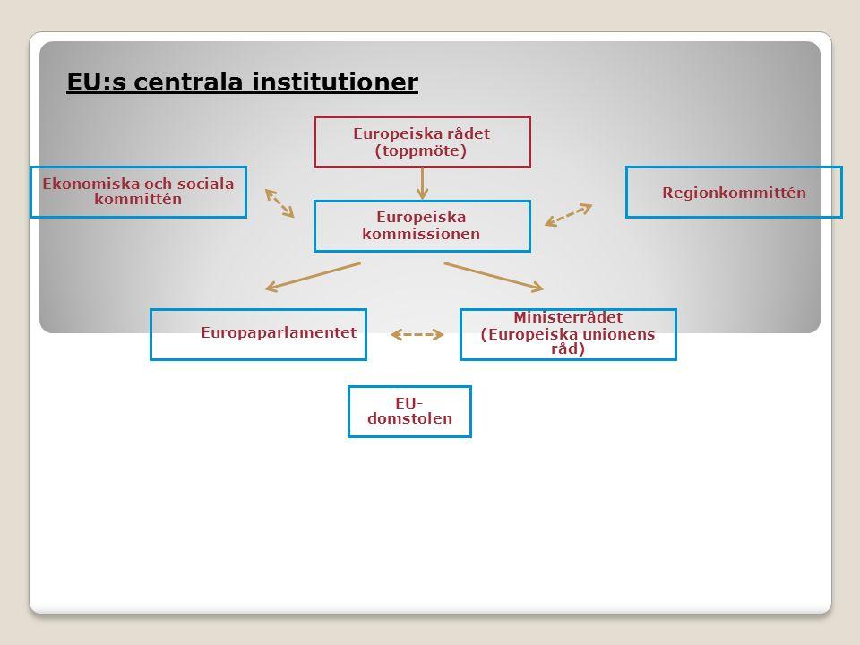 Europaparlamentet EU:s centrala institutioner EU- domstolen Ekonomiska och sociala kommittén Regionkommittén Ministerrådet (Europeiska unionens råd) Europeiska kommissionen Europeiska rådet (toppmöte)