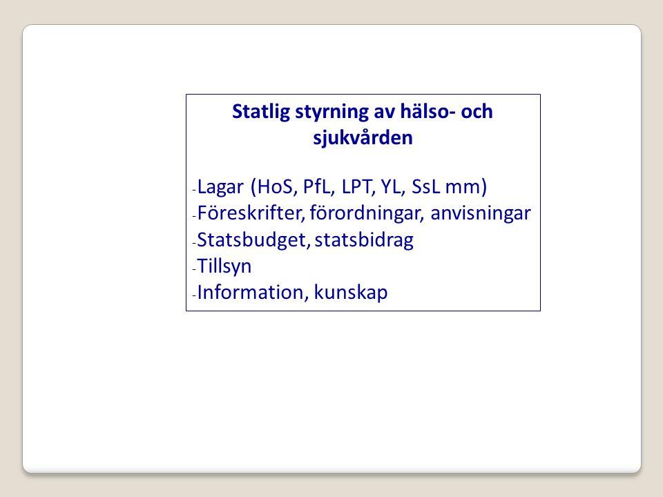 Statlig styrning av hälso- och sjukvården -Lagar (HoS, PfL, LPT, YL, SsL mm) -Föreskrifter, förordningar, anvisningar -Statsbudget, statsbidrag -Tillsyn -Information, kunskap