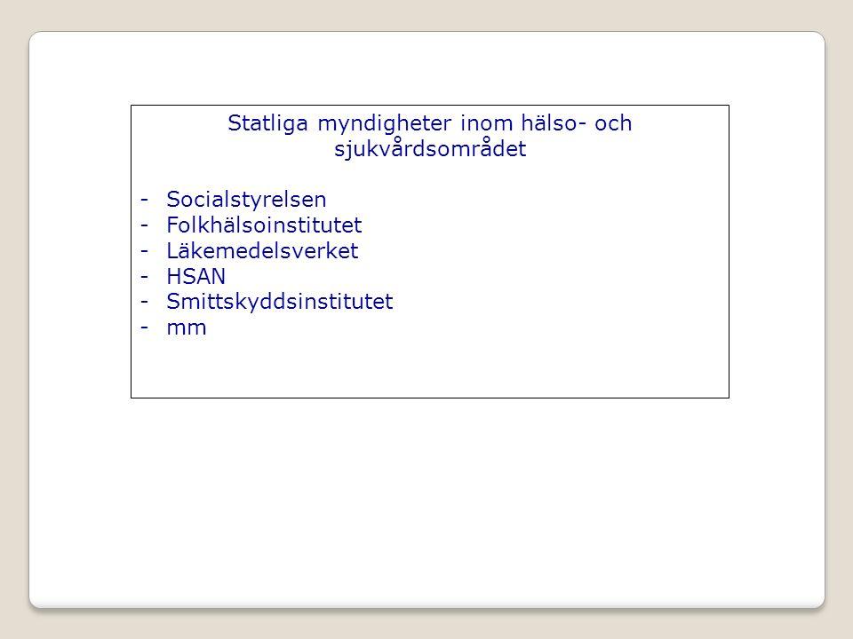 Statliga myndigheter inom hälso- och sjukvårdsområdet -Socialstyrelsen -Folkhälsoinstitutet -Läkemedelsverket -HSAN -Smittskyddsinstitutet -mm