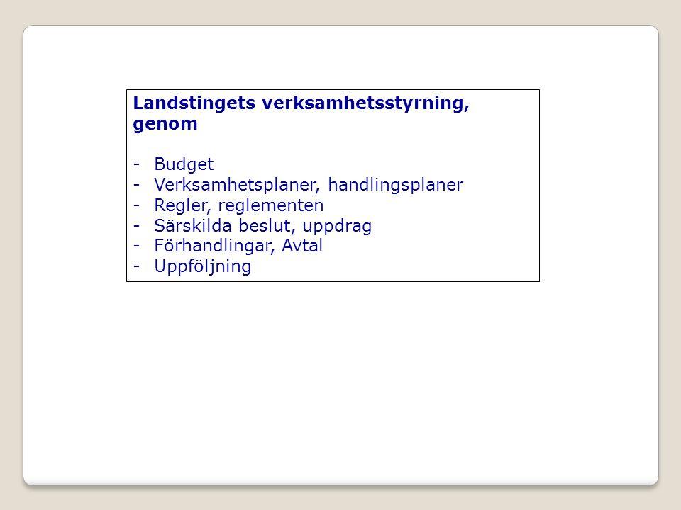 Landstingets verksamhetsstyrning, genom -Budget -Verksamhetsplaner, handlingsplaner -Regler, reglementen -Särskilda beslut, uppdrag -Förhandlingar, Avtal -Uppföljning