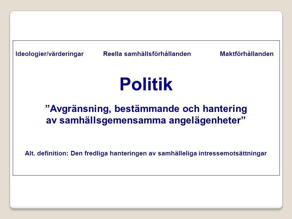 Sveriges statsskick Enhetsstat med stark lokal självstyrelse Parlamentarism: Regeringen beroende av riksdagen Demokrati: Allmän och lika rösträtt, medborgerliga fri- och rättigheter, proportionellt valsystem.