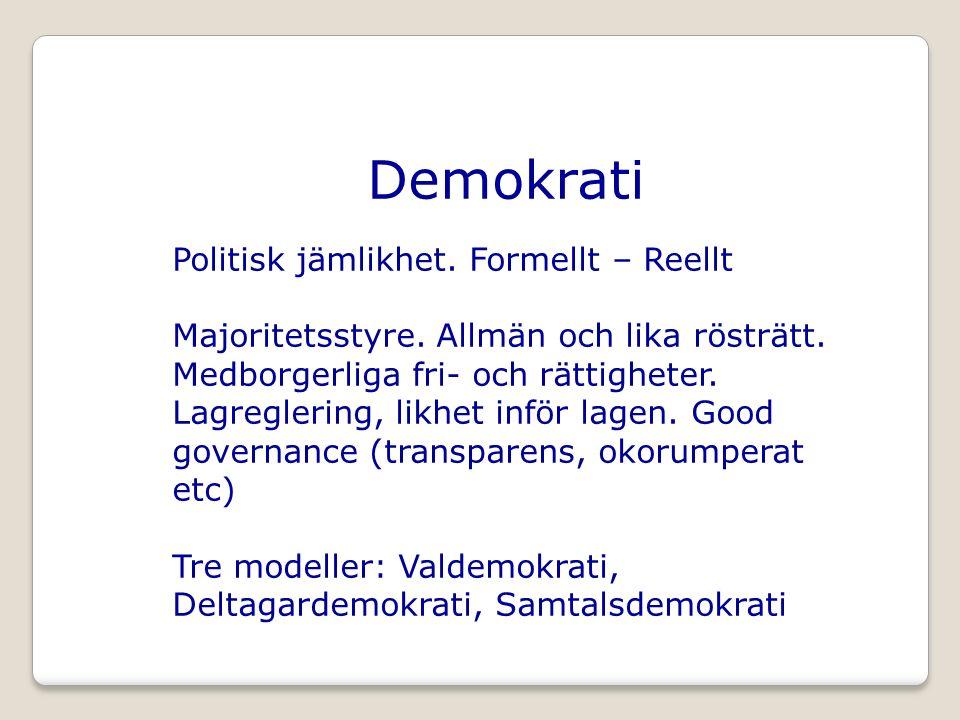 Demokrati Politisk jämlikhet. Formellt – Reellt Majoritetsstyre.