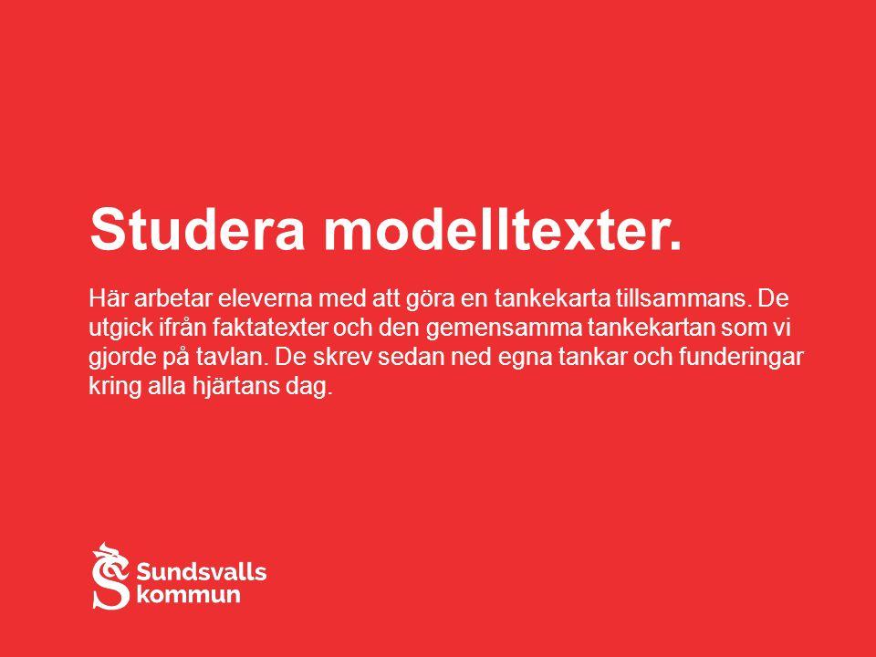 Studera modelltexter. Här arbetar eleverna med att göra en tankekarta tillsammans.