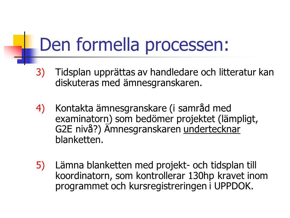 Den formella processen: 3)Tidsplan upprättas av handledare och litteratur kan diskuteras med ämnesgranskaren.