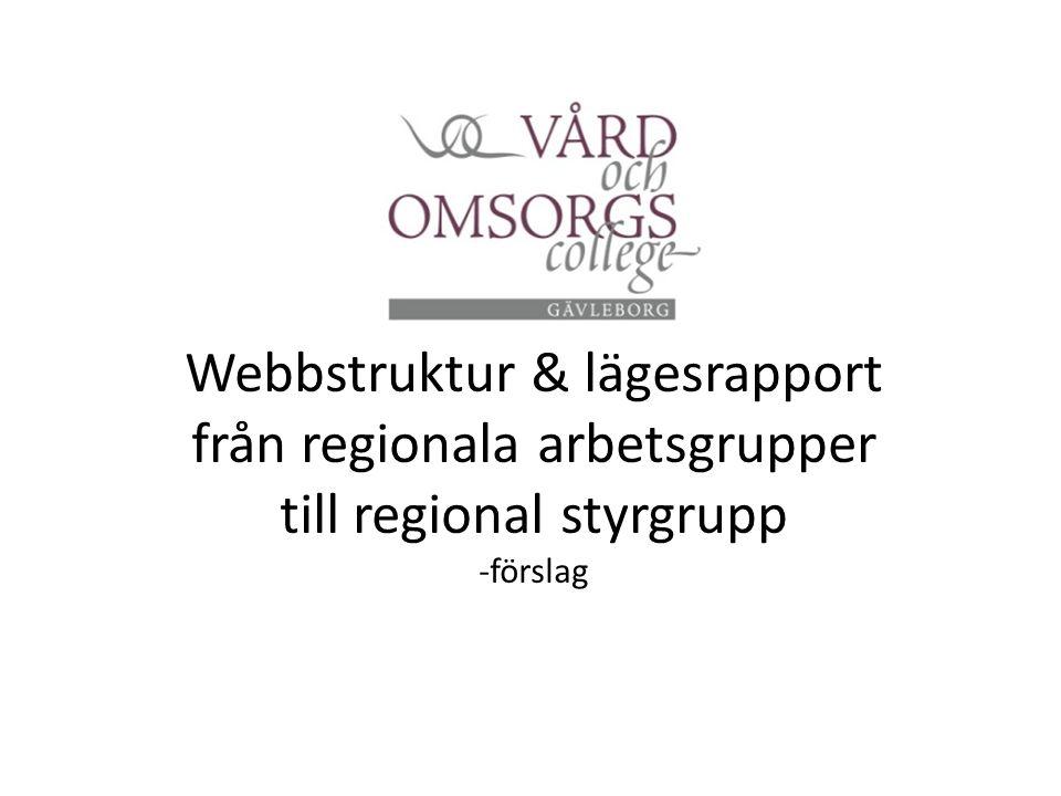 Webbstruktur & lägesrapport från regionala arbetsgrupper till regional styrgrupp -förslag
