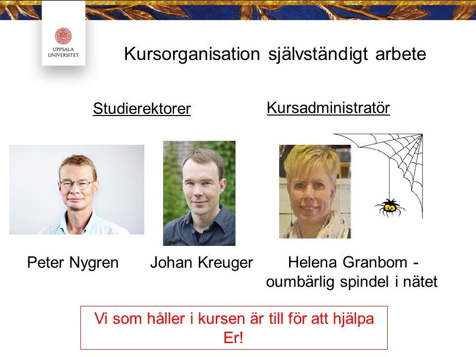 Kursorganisation självständigt arbete Studierektorer Peter Nygren Johan Kreuger Helena Granbom - oumbärlig spindel i nätet Kursadministratör Vi som håller i kursen är till för att hjälpa Er!
