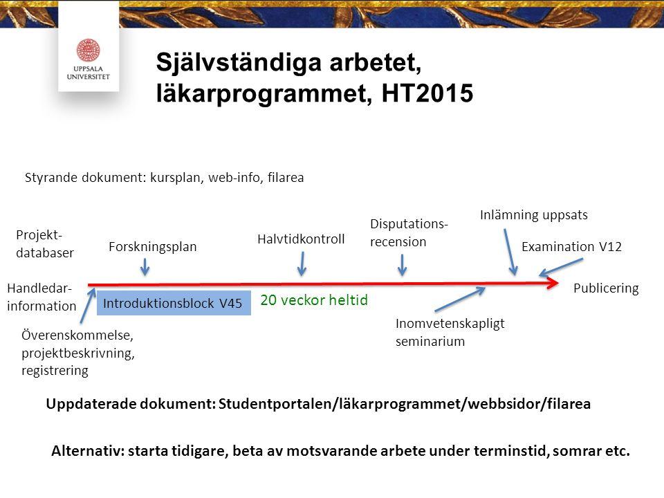 Självständiga arbetet, läkarprogrammet, HT2015 20 veckor heltid Styrande dokument: kursplan, web-info, filarea Introduktionsblock V45 Överenskommelse,