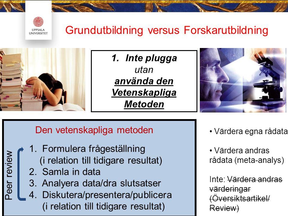 4.Inte facit utan Peer-review 2. Inte kurser utan Handledning VIKTIGAST.