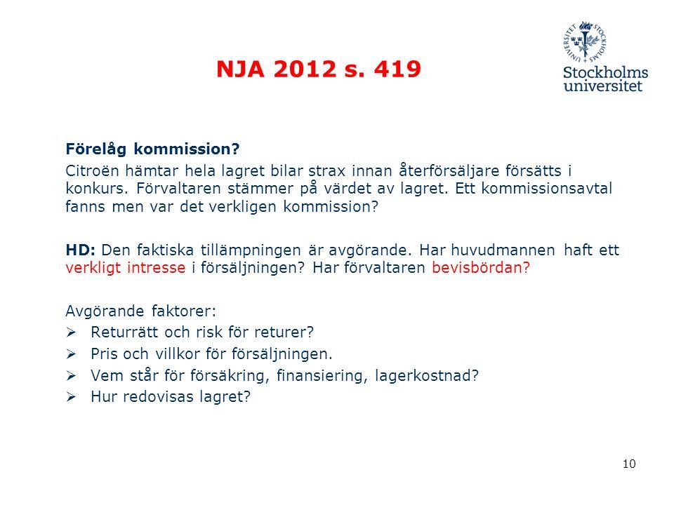 NJA 2012 s. 419 Förelåg kommission.