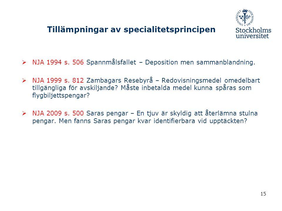 Tillämpningar av specialitetsprincipen  NJA 1994 s.