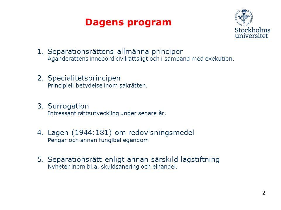 Dagens program 1.Separationsrättens allmänna principer Äganderättens innebörd civilrättsligt och i samband med exekution.