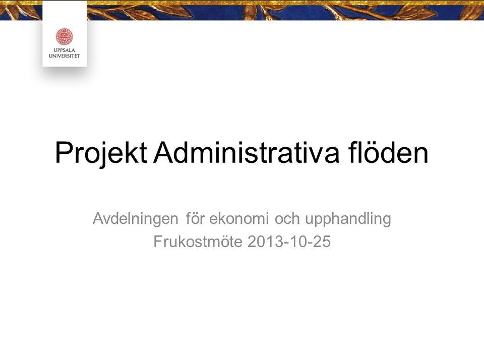 Projekt Administrativa flöden Avdelningen för ekonomi och upphandling Frukostmöte 2013-10-25